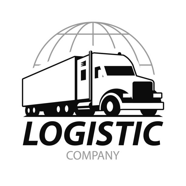 Vector truck. Vector truck . Emblem, banner, logistics center, delivery, freight, heavy cargo. Black and white color. Monochrome style. semi truck stock illustrations