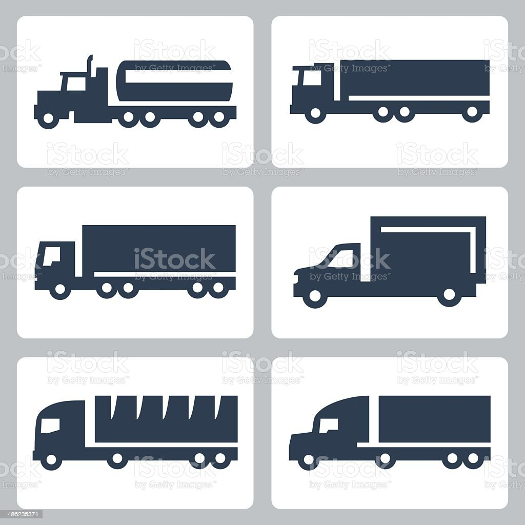 Vector trucks icons set, side view vector art illustration
