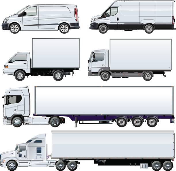 Vector trucks template isolated on white Vector trucks template for brand identity. Available EPS-10 separated by groups and layers with transparency effects for one-click repaint. semi truck stock illustrations