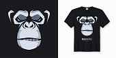 Vector t-shirt and apparel design, print, poster with styled face of a chimp ape. Global swatches.