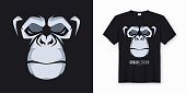 Vector t-shirt and apparel design, print, poster with styled face of a chimp ape.