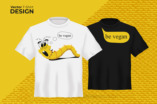 Vector t-shirt mock up set with Cute cartoon worm print. 3d realistic shirt template with Funny yellow earthworm, bubbles slogan - be vegan. Black and white boy and girl tee