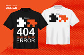 istock Vector t-shirt mock up set with two puzzle not connect print. 3d realistic shirt template with slogan - Oops, 404 error, page not found. Black and white boy and girl tee on orange background 1251392254
