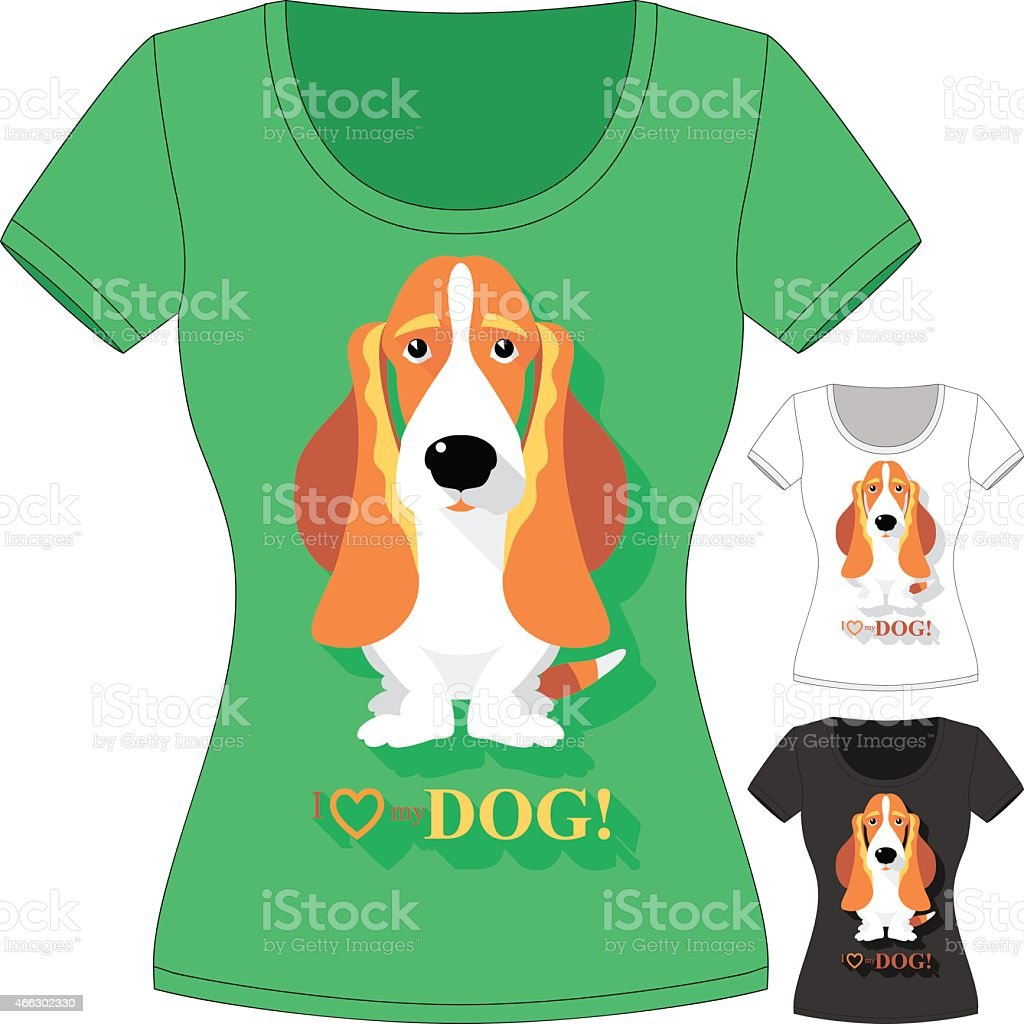 Vector Tshirt With Dog Basset Hound Stock Vector Art & More Images ...