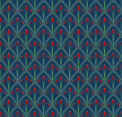vector tulips. floral seamless pattern. repetitive background. fabric swatch. wrapping paper. continuous print. design element for textile, home decor, apparel, backdrop. red yellow green illustration