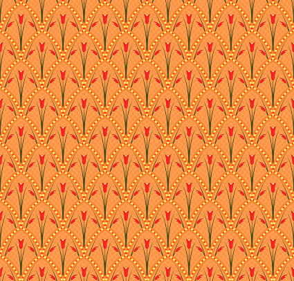 vector tulips. floral seamless pattern. repetitive background. fabric swatch. wrapping paper. continuous print. design element for textile, home decor, apparel, backdrop. color illustration