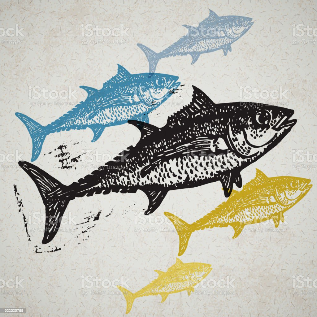 Vector Tuna fishes in abstract composition. vector art illustration