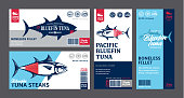 Vector pollock labels and packaging design concepts. Alaska pollock fish illustrations. Flat style seafood labels for groceries, fisheries, packaging, and advertising