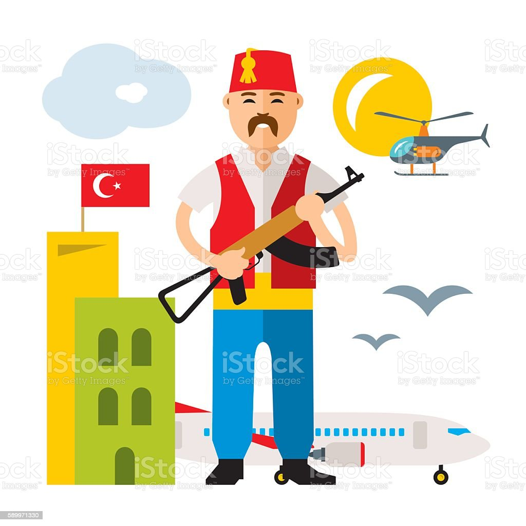 vector turkey airport security officer flat style colorful cartoon