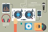 Vector turntable and dj hand - flat style