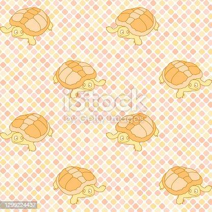 vector turtles on diagonal repetitive background with squares. color animals. baby seamless pattern. fabric swatch. wrapping paper. continuous print. design template for home decor, apparel, textile