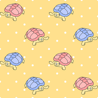 vector turtles on dotted repetitive background. color animals. baby seamless pattern. fabric swatch. wrapping paper. continuous print. design element for home decor, apparel, phone case, textile, cloth