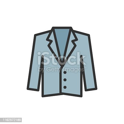 Vector tuxedo, jacket, coat flat color line icon. Symbol and sign illustration design. Isolated on white background