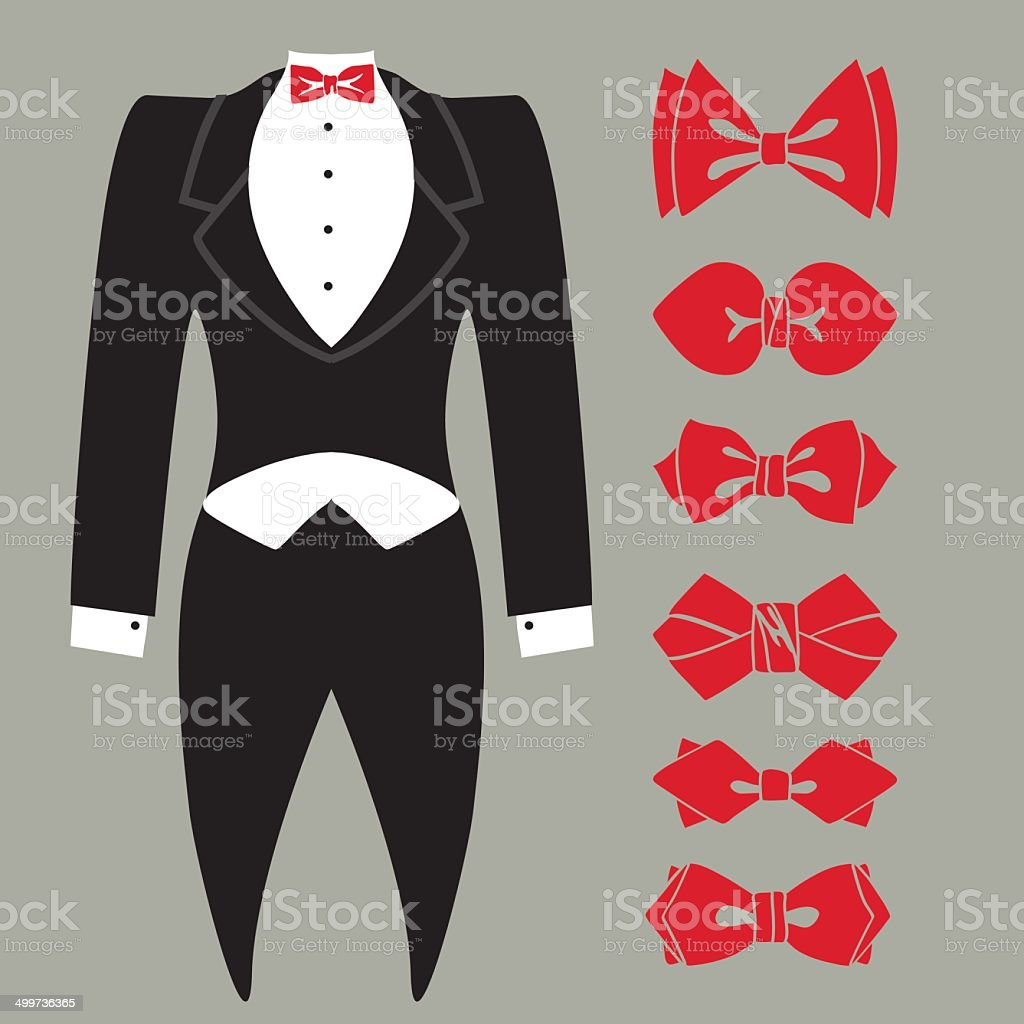 latest unparalleled the cheapest Vector Tuxedo With Colored Bow Tie Set Stock Vector Art ...