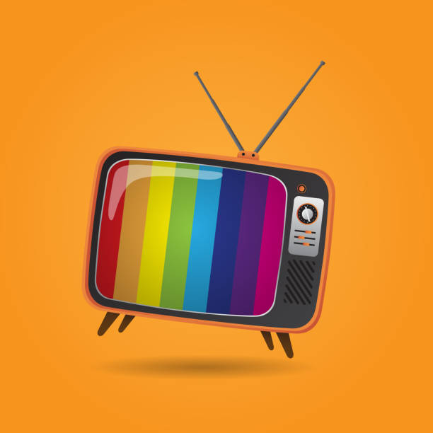 vector tv vector vintage tv . retro style with 3d concept television set stock illustrations