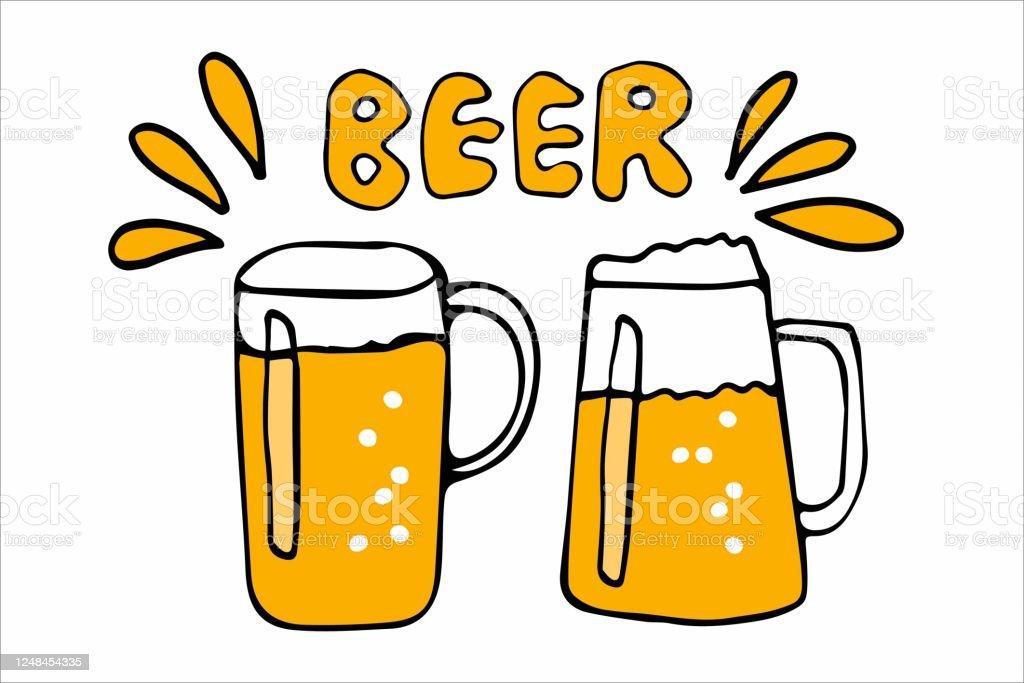 Vetores De Vetor Duas Canecas De Cerveja Ilustracao De Doodle Com Texto De Letras Manuscritas Cerveja No Fundo Grunge Icone Simbolo Com Canecas De Cerveja Artesanal E Mais Imagens De Alemanha