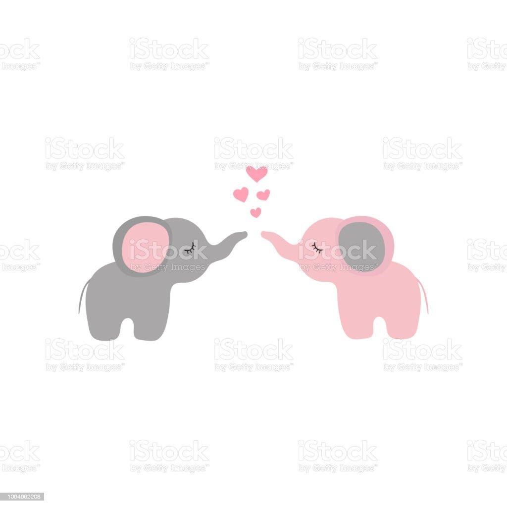 Ilustración De Vector De Dos Elefantes Pequeños Dibujos Animados En