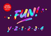 Vector Type Design with Neon Colors. Creative Colourful Hand Drawn Typography. Funny Textured Typeface in Cartoon Style. Vibrant Font for Birthday Card, Summer Poster, Music Festival Party Invitation.