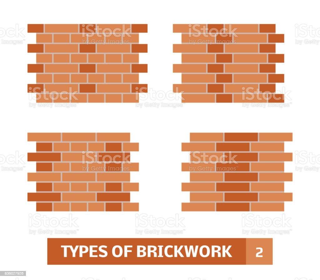 Vector types of brickwork vector art illustration