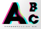 Vector Typeset Design. Neon Glitch Style. Black Bold Font with Double Exposure. Abstract Colorful Type for Creative Heading, Advertising Placard, Music Poster, Sale Banner. Trendy Neon Glowing Letters.