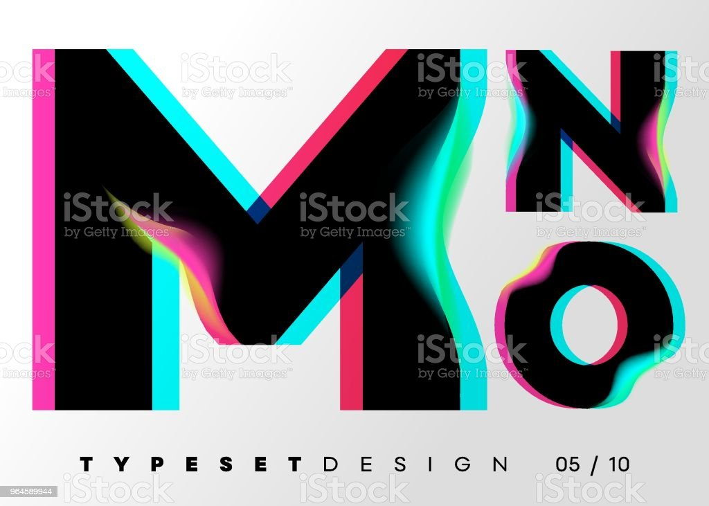 Vector Typeset Design. Neon Glitch Style. Black Bold Font with Double Exposure. Abstract Colorful Type for Creative Heading, Advertising Placard, Music Poster, Sale Banner. Trendy Neon Glowing Letters. vector art illustration