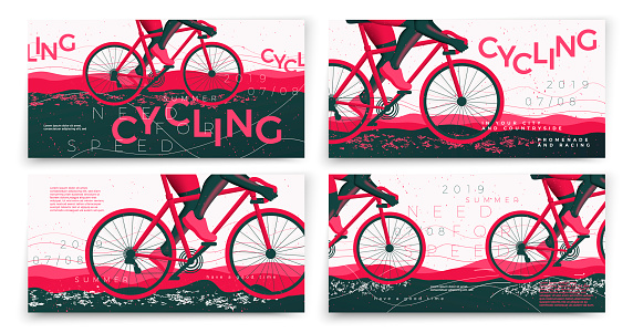 Vector typographic bicycle banners template set