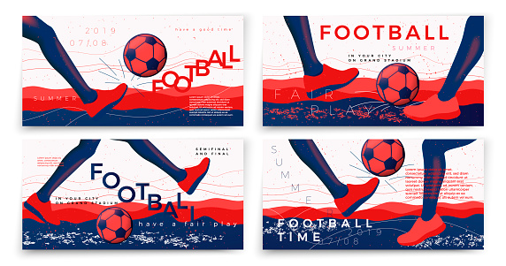 Vector typographic football banners template set