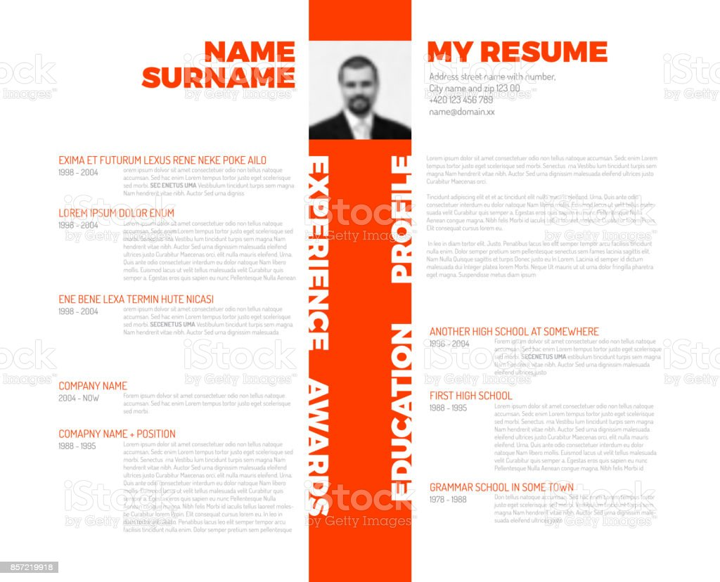 Vector Typographic Minimalist Cv Resume Template Stock Vector Art