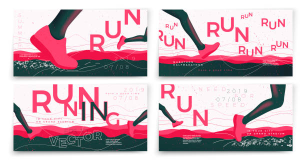 Vector typographic running banners template set Vector typographic running banners template set, with legs, grunge textures, and place for your texts. active lifestyle stock illustrations