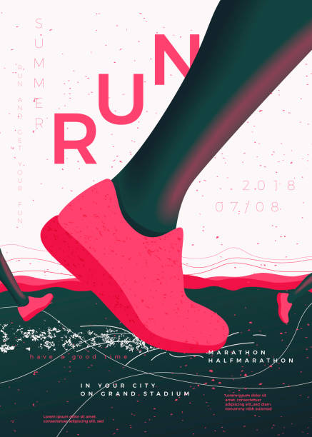 Vector typographic running poster template Vector typographic running poster template, with runners, grunge textures, and place for your texts. active lifestyle stock illustrations