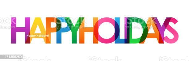 Happy Holidays Vector Typography Banner — стоковая векторная графика и другие изображения на тему Баннер - знак