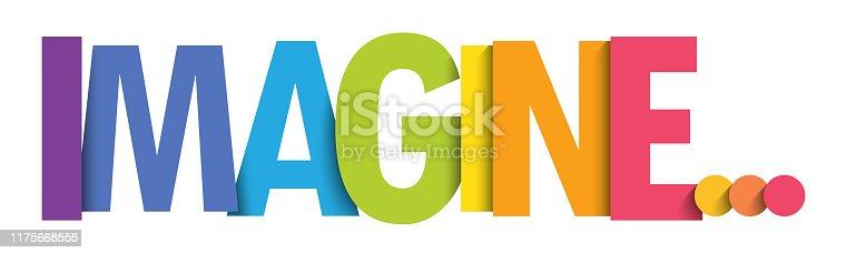 IMAGINE... rainbow gradient vector typography banner