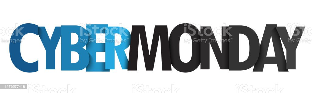 CYBER MONDAY vector typography banner CYBER MONDAY vector blue and black typography banner Advertisement stock vector