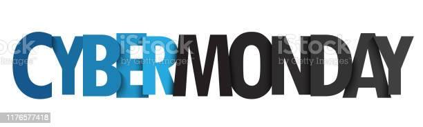 Cyber Monday Vector Typography Banner — стоковая векторная графика и другие изображения на тему Баннер - знак