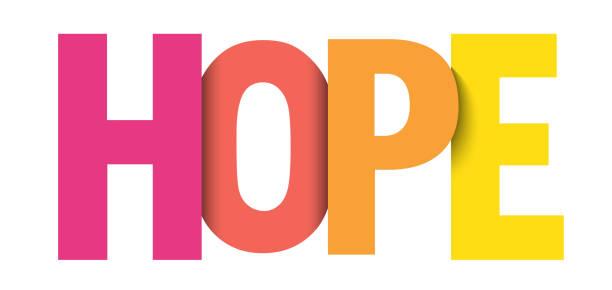 ilustraciones, imágenes clip art, dibujos animados e iconos de stock de banner tipográfico vectorial hope - esperanza