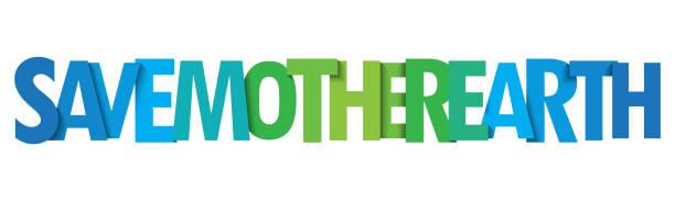 save mother earth vektortypografie banner - upcycling stock-grafiken, -clipart, -cartoons und -symbole