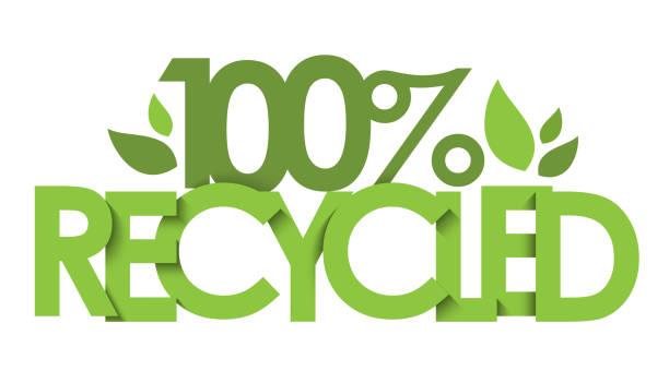 100 % recycled vektor typografie banner - upcycling stock-grafiken, -clipart, -cartoons und -symbole