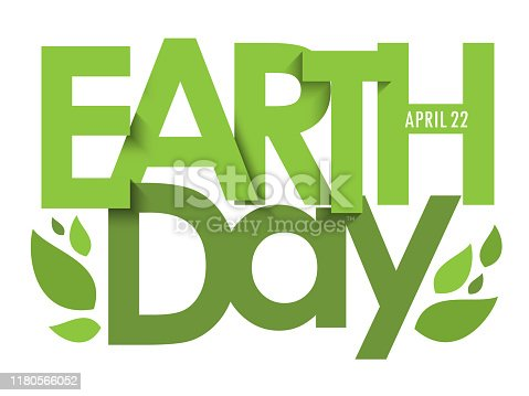 EARTH DAY - APRIL 22 green vector typography banner with leaves