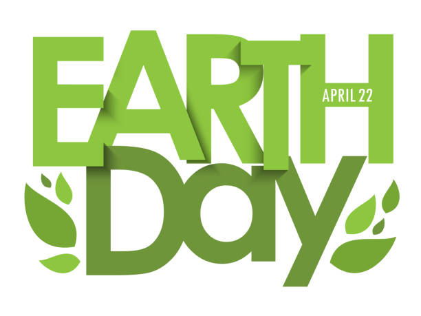 EARTH DAY vector typography banner EARTH DAY - APRIL 22 green vector typography banner with leaves earth day stock illustrations