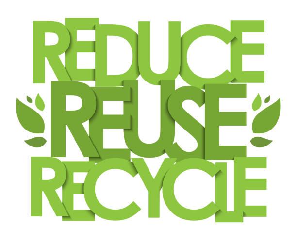 reduce reuse recycle vektortypografie banner - upcycling stock-grafiken, -clipart, -cartoons und -symbole