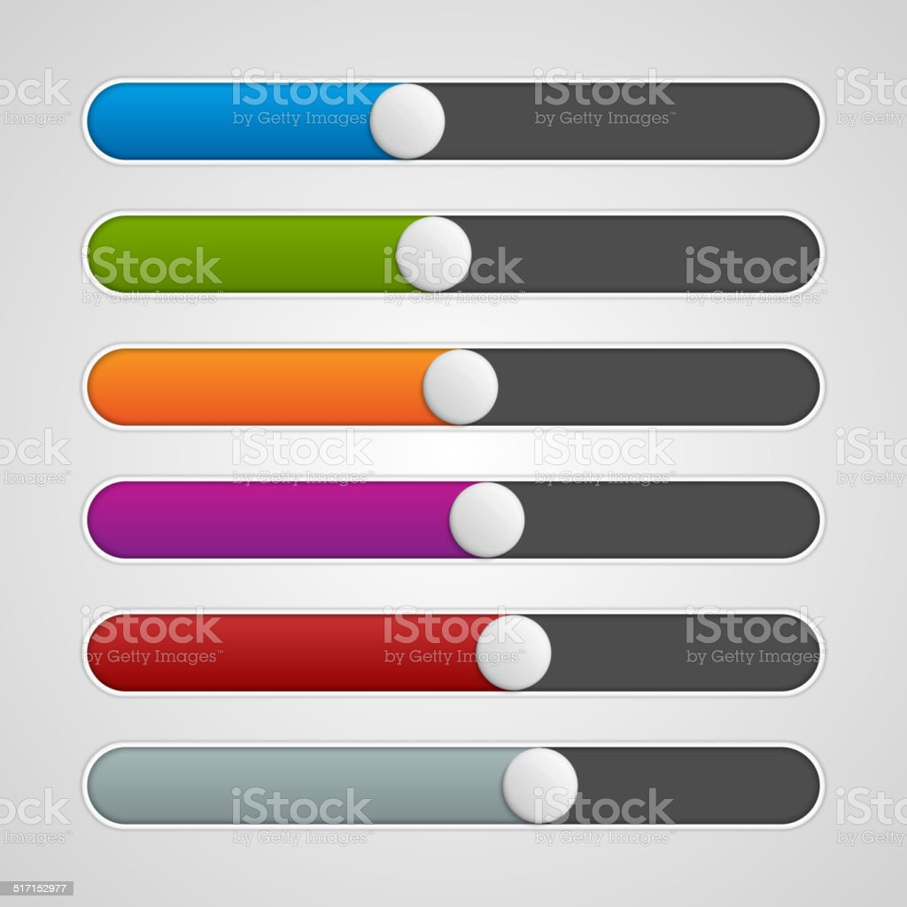 Vector UI sliders colors set. Volume controls. Interface elements. vector art illustration