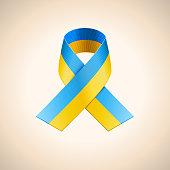 Vector Ukrainian Flag in the Ribbon