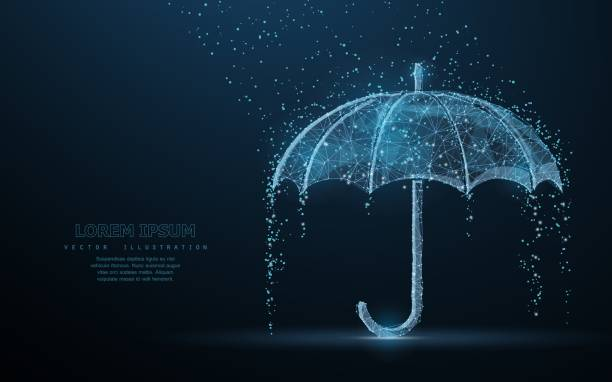 Vector umbrella rain protection. Vector umbrella rain protection. Abstract wire low poy umbrella cover in rain illustration on dark blue background with water fall drops. Meteorology, safety, autumn season concept sheltering stock illustrations