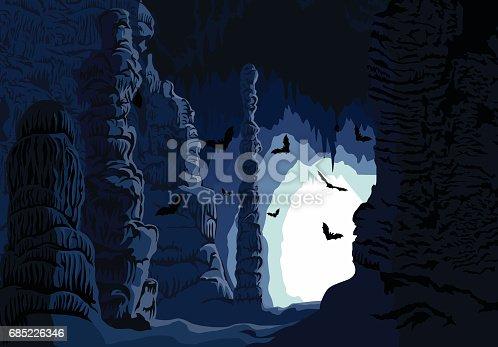 Vector underground karst cave with bats