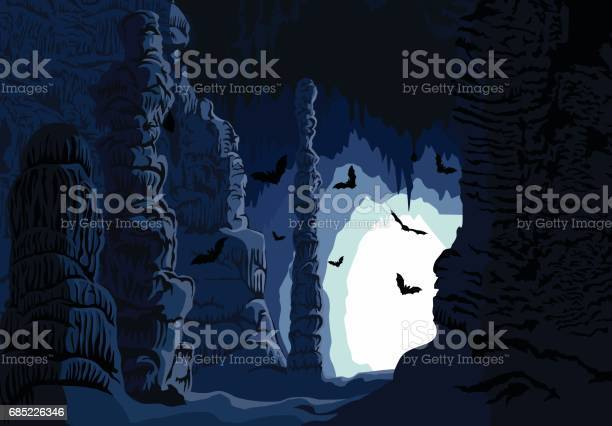 Vector Underground Karst Cave With Bats Stock Illustration - Download Image Now