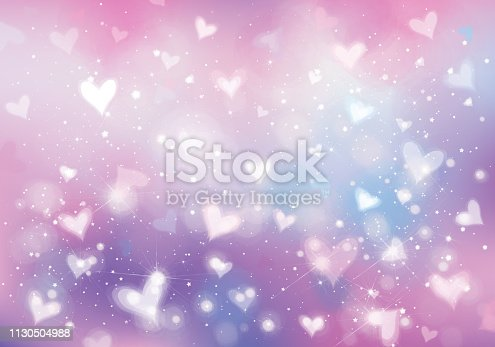 Vector unicorn background with  hearts, lights and stars.