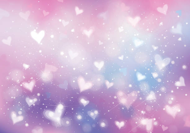 vector unicorn background with  hearts, lights and stars. - rainbow glitter background stock illustrations, clip art, cartoons, & icons