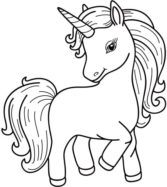 vector unicorn cartoon black silhouette. - pony stock illustrations