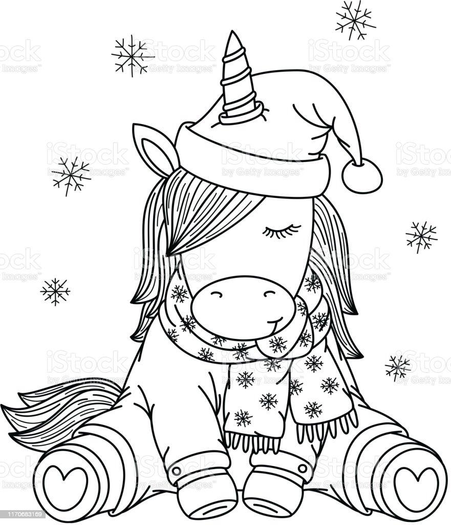 Vetores De Desenhos Animados Do Unicórnio Do Vetor No Chapéu