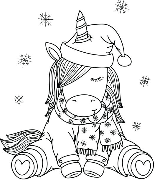Best Drawing Of The Horse Santa Hat Illustrations, Royalty ...